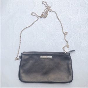Tiffany bronze leather pochette pouch with chain